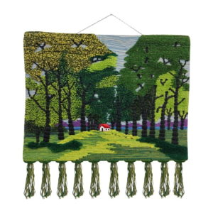 Small House in Forest Pure Jute Handmade Wall Hanging 1