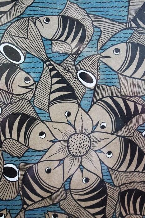 Bengal Pattachitra - Fish Marriage C