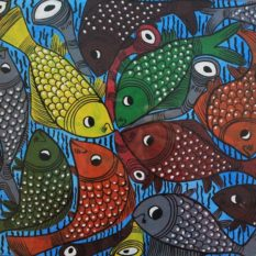 Bengal Pattachitra Fish Playing Music A2