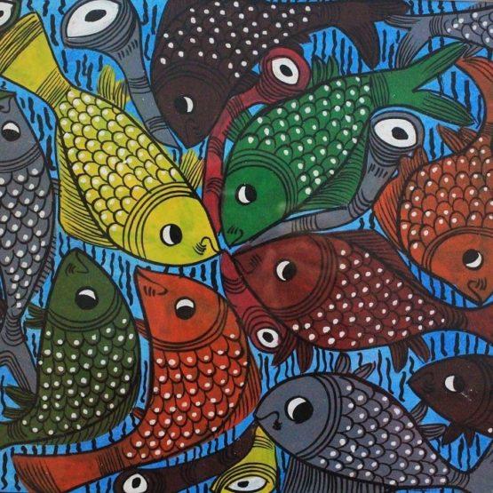 Bengal Pattachitra Fish Playing Music A2