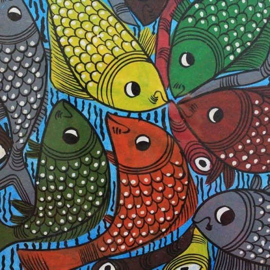 Bengal Pattachitra Fish Playing Music A3