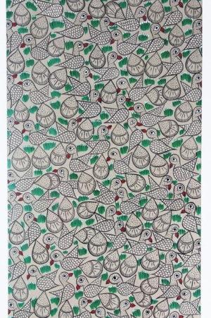 Bengal Pattachitra - Flock of Birds B