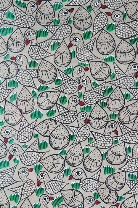 Bengal Pattachitra - Flock of Birds C