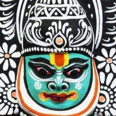 Black-Green Kathakali Chau Mask Online (2)
