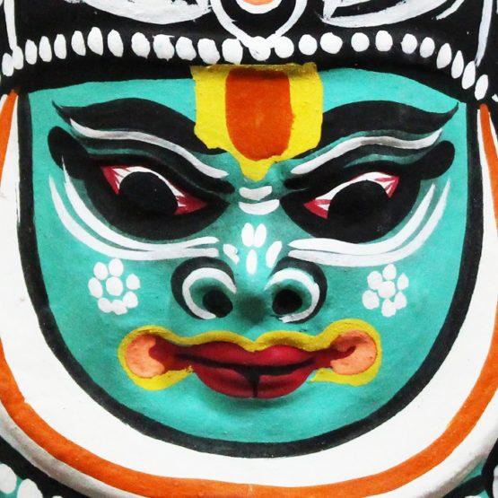 Black-Green Kathakali Chau Mask Online (3)