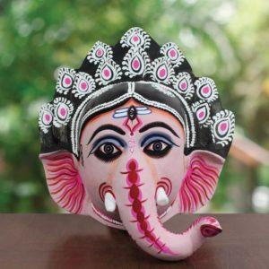 Black-Pink Ganesha Chhau Mask Online (1.5Ft) (1)