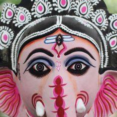 Black-Pink Ganesha Chhau Mask Online (1.5Ft) (2)