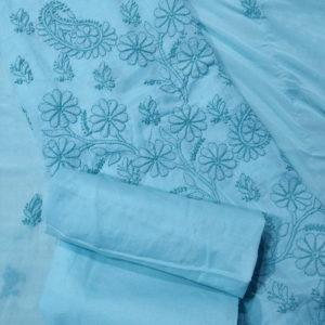 Chikankari Hand Embroidered Blue Floral Design Cotton Dress Material Set 2