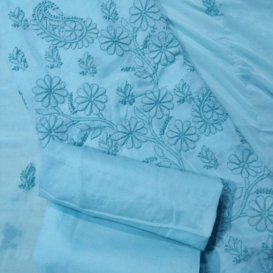 Chikankari Hand Embroidered Blue Floral Design Cotton Dress Material Set 2