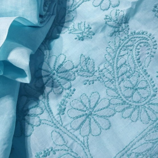 Chikankari Hand Embroidered Blue Floral Design Cotton Dress Material Set 3