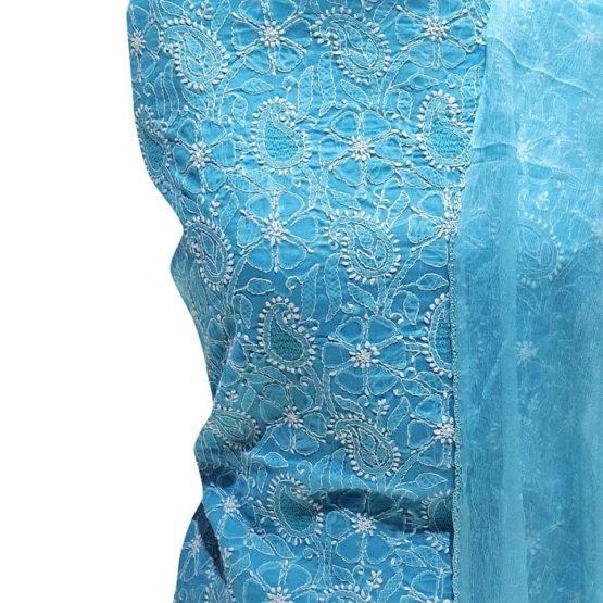 Chikankari Hand Embroidered Blue Flower Design Cotton Dress Material Set 1