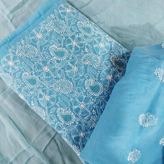 Chikankari Hand Embroidered Blue Flower Design Cotton Dress Material Set 3