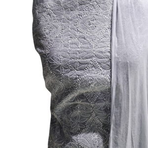 Chikankari Hand Embroidered Off-White Floral Design Cotton Dress Material Set 1