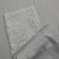 Chikankari Hand Embroidered Off-White Floral Design Cotton Dress Material Set 3