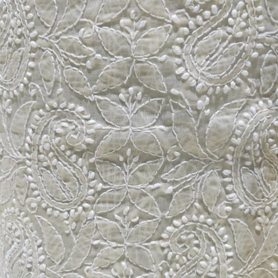 Chikankari Hand Embroidered Off-White Floral Pattern Cotton Dress Material Set 2