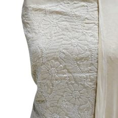 Chikankari Hand Embroidered Off-White Flower Design Cotton Dress Material Set 1