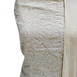 Chikankari Hand Embroidered Off-White Flower Design Cotton Dress Material Set 1