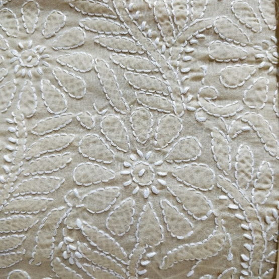 Chikankari Hand Embroidered Off-White Flower Design Cotton Dress Material Set 2