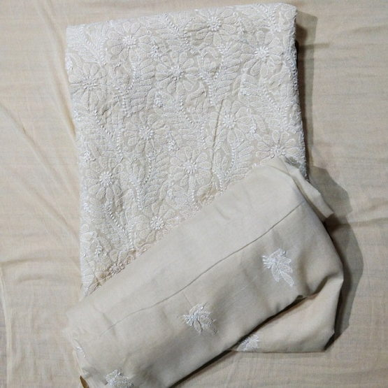 Chikankari Hand Embroidered Off-White Flower Design Cotton Dress Material Set 3