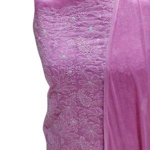 Chikankari Hand Embroidered Pink Floral Design Cotton Dress Material Set 1