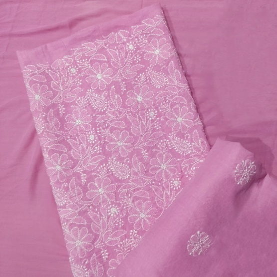 Chikankari Hand Embroidered Pink Floral Design Cotton Dress Material Set 3