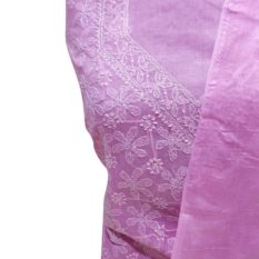 Chikankari Hand Embroidered Pink Flower Design Cotton Dress Material Set 1