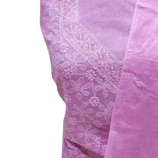 Chikankari Hand Embroidered Pink Flower Design Cotton Dress Material Set 1