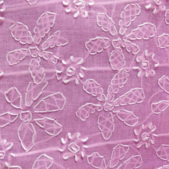 Chikankari Hand Embroidered Pink Flower Design Cotton Dress Material Set 2