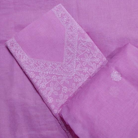 Chikankari Hand Embroidered Pink Flower Design Cotton Dress Material Set 3