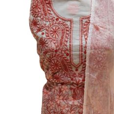 Chikankari Hand Embroidered Red Floral Design Cotton Dress Material Set 1