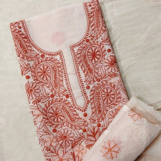 Chikankari Hand Embroidered Red Floral Design Cotton Dress Material Set 3