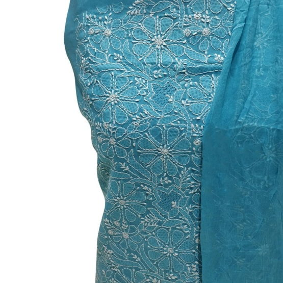 Chikankari Hand Embroidered SkyBlue Floral Design Cotton Dress Material Set 1