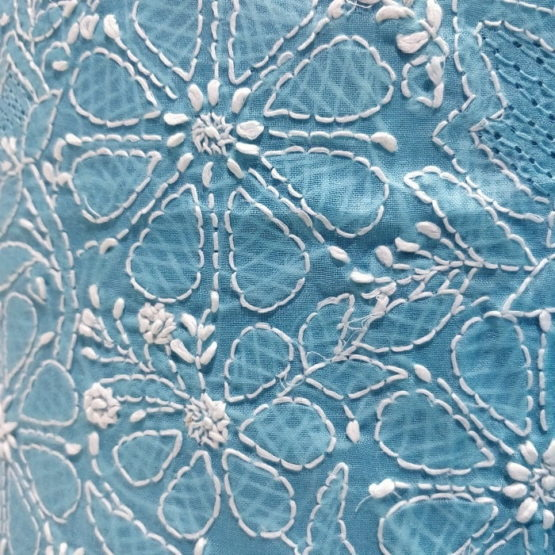 Chikankari Hand Embroidered SkyBlue Floral Design Cotton Dress Material Set 2