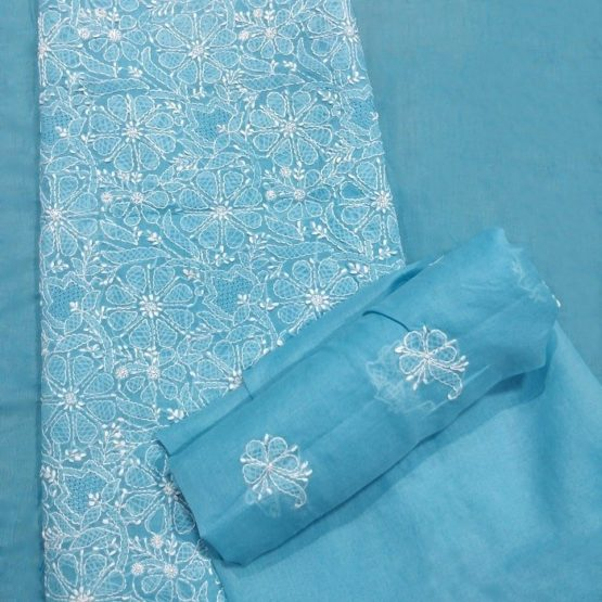 Chikankari Hand Embroidered SkyBlue Floral Design Cotton Dress Material Set 3