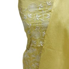 Chikankari Hand Embroidered Yellow Floral Pattern Cotton Dress Material Set 1