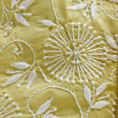 Chikankari Hand Embroidered Yellow Floral Pattern Cotton Dress Material Set 2