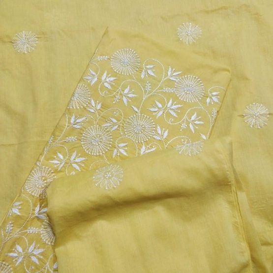 Chikankari Hand Embroidered Yellow Floral Pattern Cotton Dress Material Set 3