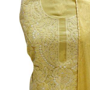 Chikankari Hand Embroidered Yellow Flower Design Cotton Dress Material Set 1