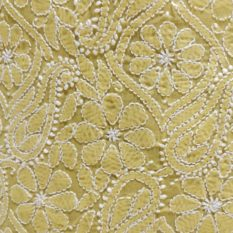 Chikankari Hand Embroidered Yellow Flower Design Cotton Dress Material Set 2