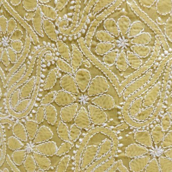Chikankari Hand Embroidered Yellow Flower Design Cotton Dress Material Set 2