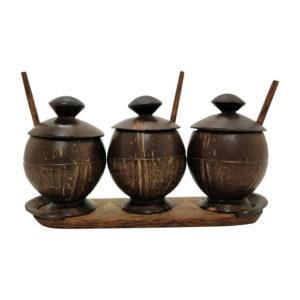 Coconut Shell Craft Pickle Jar - Set Of 3 1