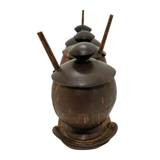 Coconut Shell Craft Pickle Jar - Set Of 3 3