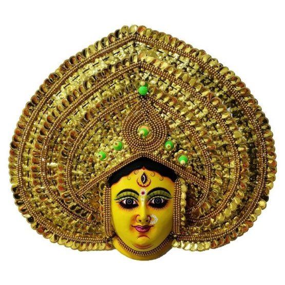 Golden Devi Chhau Mask - Leaf Design (1Ft) 1