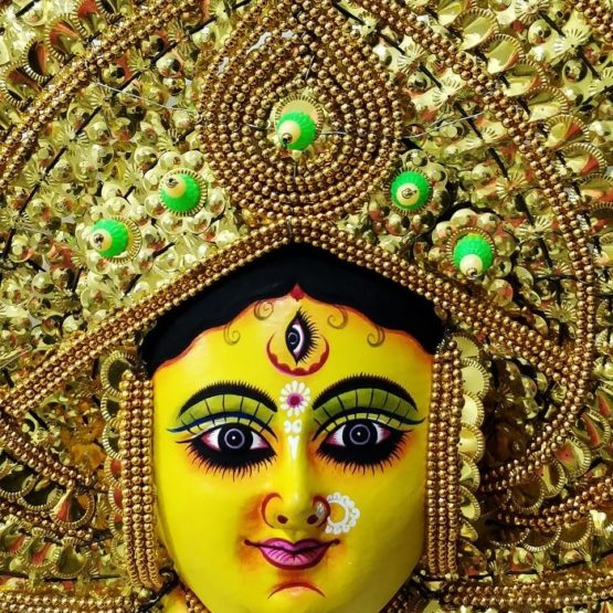 Golden Devi Chhau Mask - Leaf Design (1Ft) 2