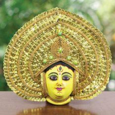 Golden Devi Chhau Mask - Leaf Design (2Ft) - Gi Tagged (1)