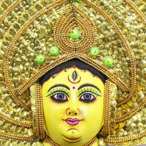 Golden Devi Chhau Mask - Leaf Design (2Ft) - Gi Tagged (2)