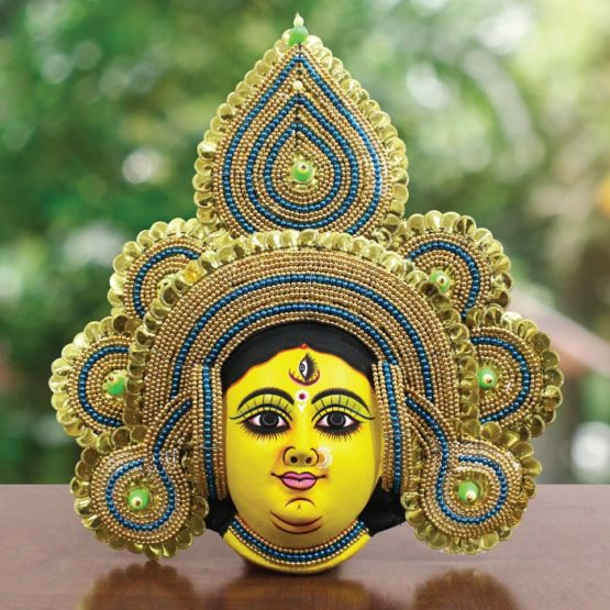 Golden Devi Chhau Mask - Tharkozi Design (1.5Ft) - GI TAGGED (1)