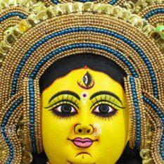 Golden Devi Chhau Mask - Tharkozi Design (1.5Ft) - GI TAGGED (2)