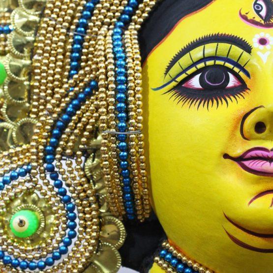 Golden Devi Chhau Mask - Tharkozi Design (1.5Ft) - GI TAGGED (3)
