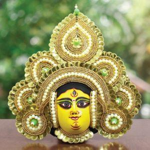 Golden Devi Chhau Mask - Tharkozi Design - (1Ft) - GI TAGGED (1)